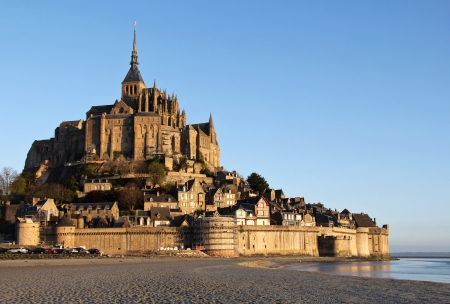 normandy: Mont Saint Michel cathedral in first morning light . Normandy , France