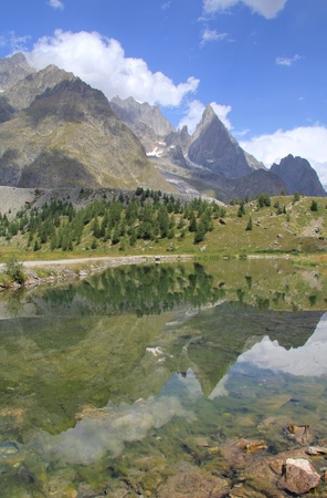 noire: Aiguille noire vertical reflection in alpine lake. Aosta Valley , Italy  Stock Photo