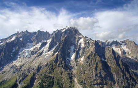 ices: Panoramic view of Grand Jorasses ices and Ferret Valley near Courmayeur , Italy