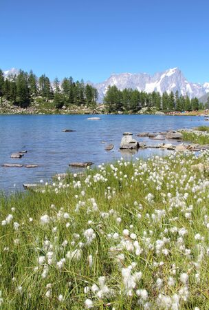 aosta: Beautiful Arpy lake in Aosta valley with snowy mountain in background