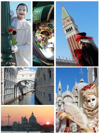 A collage made with Carnival mask and famous Venice building photo