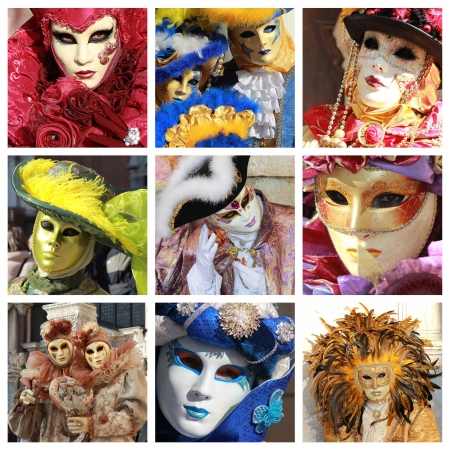 Collage of various and colorful masks of the famous Carnival in Venice