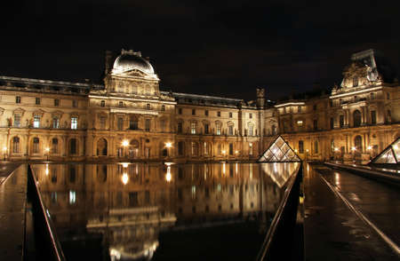 Reflection in water at night of famous Louvre museum and glass pyramid  Paris