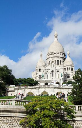 Famous church of Sacre Coeur at Montmartre , Paris France Editorial
