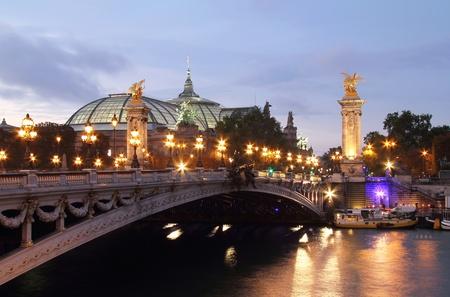 アレクサンドル 3 世橋とグラン ・ パレ パリ夕暮れ夜 写真素材