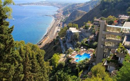 sicily: Naxos garden seen from the top of Taormina hill . Sicily , Italy