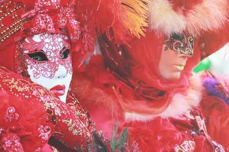 Red venetian mask at Venice photo