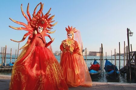 Magnificent masked couple at Venice Carnival