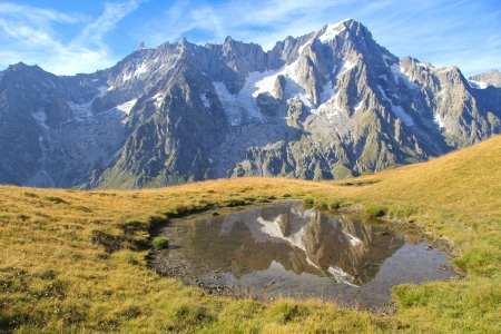 aosta: High mountain landscape with Tooth of the Giant  from Mont Sapin top . Ferret Valley , Italy Stock Photo