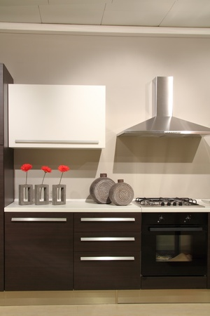 Modern kitchen with abstract and minimalist decorations