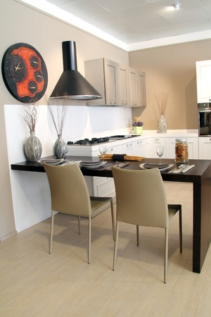 Decorated table in a modern kitchen