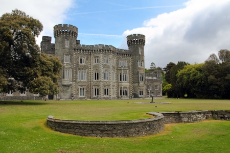 eire: Johnstown castle facade and beautiful gardens  . Wexford county Ireland