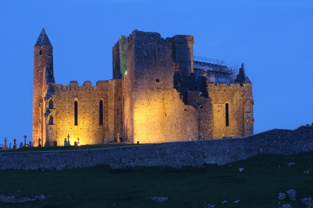 county tipperary: Cashel Abbey lighted at dusk . Tipperary , Ireland Editorial