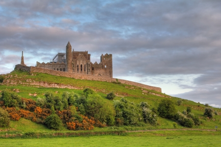 county tipperary: The Rock of Cashel at sunset , irish abbey in Tipperary county. Soft Hdr Editorial