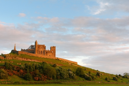 Rock of Cashel at sunset , irish abbey in Tipperary county Editorial