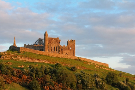 Rock of Cashel in warm sunset light , famous irish abbey in Tipperary county