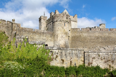 county tipperary: Detail of the tower and fortified walls of Cahir castle. Ireland