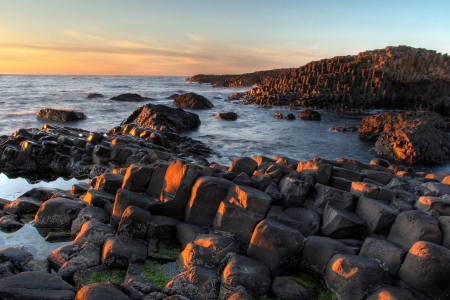 Sunset seascape at Giant Causeway
