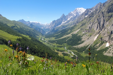 Ferret Valley and Mont Blanc panoramic view   Courmayeur , Italy Stock Photo