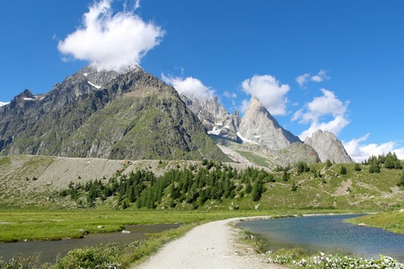 aosta: Alpine landscape in Val Veny and Combal lake   Courmayeur in Aosta Valley