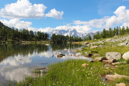 aosta: Mountain landscape of Arpy lake and Mont Blanc reflected in waters