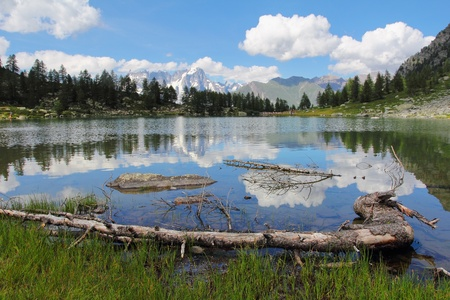 Beautiful Arpy lake and mountain landscape reflected in waters photo