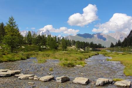 aosta: Alpine lake of Arpy in Aosta Valley , Italy