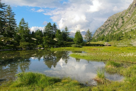 Beautiful cloudscape reflection in Arpy lake   Italian Alps photo