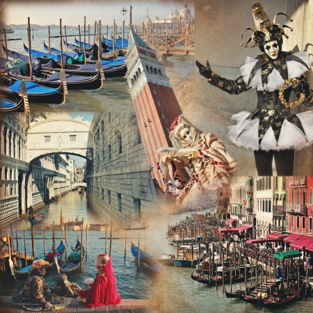 Creative collage made with Carnival mask and famous Venice building   Vintage style photo