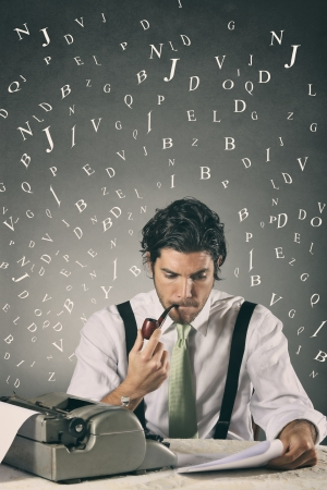 Handsome journalist with pipe and typewriter surrounded by words . Creativity concept