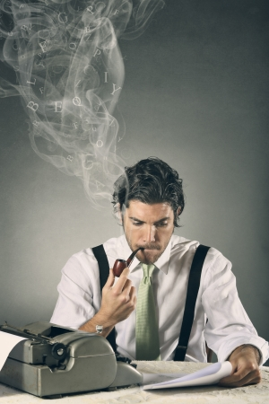 Portrait of an handsome journalist with smoking words . Grey background and copy space Stock Photo - 25148062