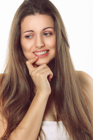 indecision: Beauty woman portrait   Model has a funny expression