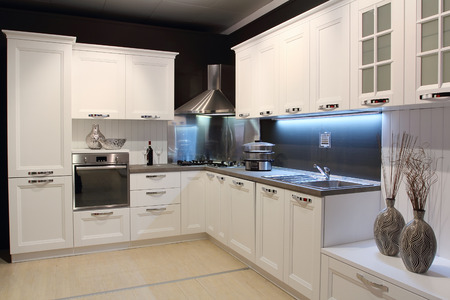 Full view of a modern kitchen cream coloured Stock fotó