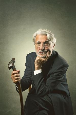Senior white hair man portrait