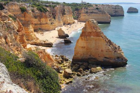 Praia da marinha , sandy and rocky beach in south Portugal