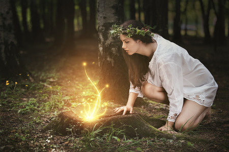Beautiful girl staring at fairies in a magical forest . Fantasy concept photo