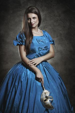 Portrait of a beautiful noble vampire . Venice masquerade and carnival photo