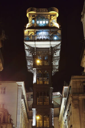 justa: Santa Justa lift at night , Baixa . Portuguese city of Lisbon