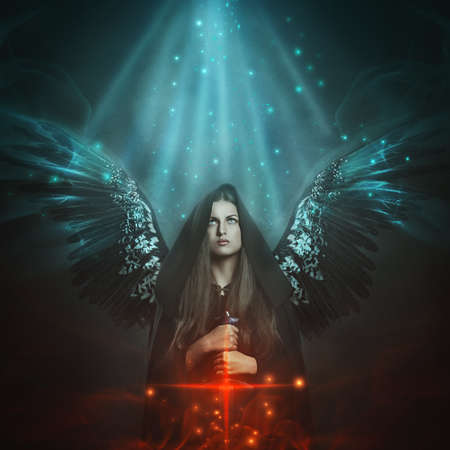 Fallen angel with black wings . Fantasy and mythology