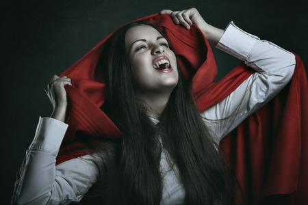Red hooded vampire . Dark portrait