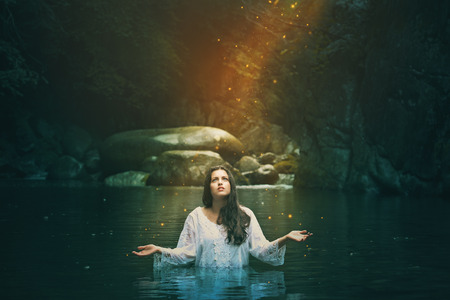 water nymph: Stream water nymph among forest spirits . Fantasy and surreal