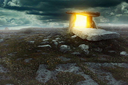 gaelic: Magical portal in a mysterious land . Surreal and fantastic concept