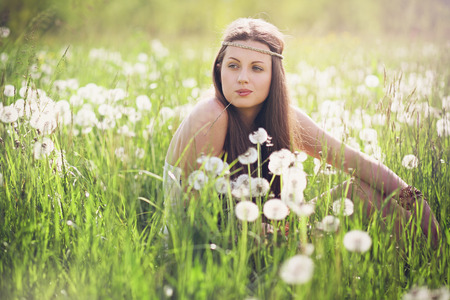 carefree: Beautiful woman with carefree expression . Nature harmony