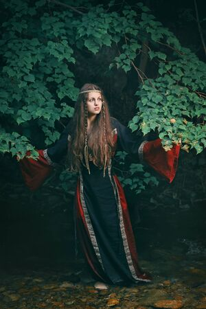 medieval woman: Beautiful young woman with medieval dress in a forest stream