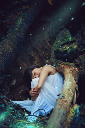Beautiful dark woman sleeping among forest spirits and fairies . Fantasy and magic Stock Photo