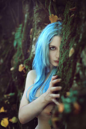 forest wood: Beautiful ethereal child of the forest . Fantasy and magic