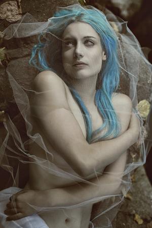 ダーク吸血鬼花嫁の肖像画。ハロウィーンと退廃の概念