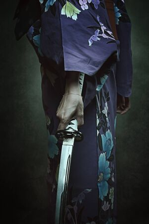 bookcover: Detail of samurai sword. Woman in traditional kimono Stock Photo
