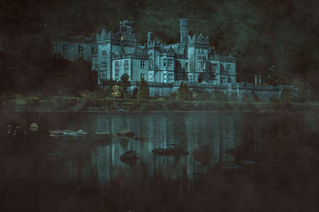 Dark manipulation of Kylemore Abbey in Mayo county  , Ireland Stock Photo