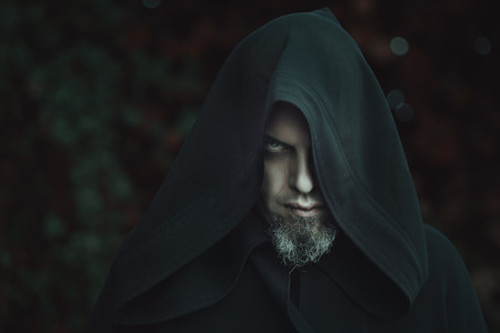 warlock: Black warlock portrait . Halloween concept
